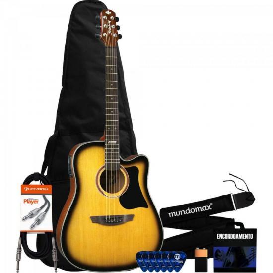 Kit Violão Eletroacústico Folk AF65C Sunburst STRINBERG + Acessórios