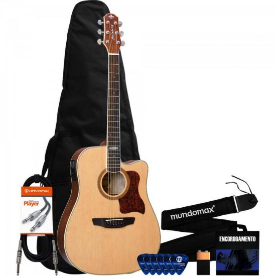 Kit Violão Eletroacústico Folk SD20C Natural STRINBERG + Acessórios