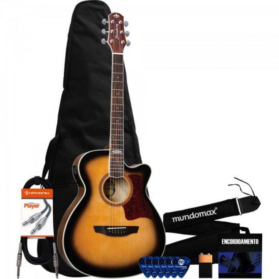 Kit Violão Eletroacústico Artístico Aço SA20C Honeyburst Satin STRINBERG + Capa + Correia + Acessórios