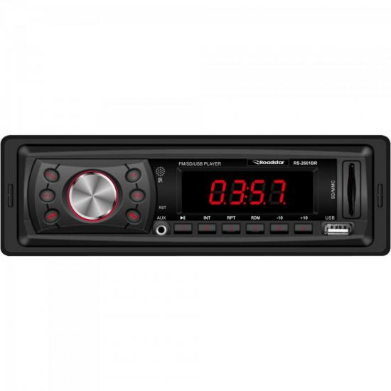 Auto Rádio FM/USB/SD/AUX RS2601BR Preto ROADSTAR