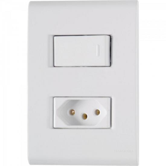 Interruptor 4x2 c/ 1 Tecla e 1 Tomada 2P+T 20A 250V Tablet Braco TRAMONTINA