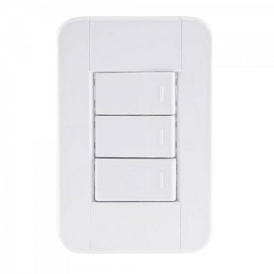 Interruptor Triplo 4x2 c/ 3 Teclas 10A 250V Tablet Branco TRAMONTINA