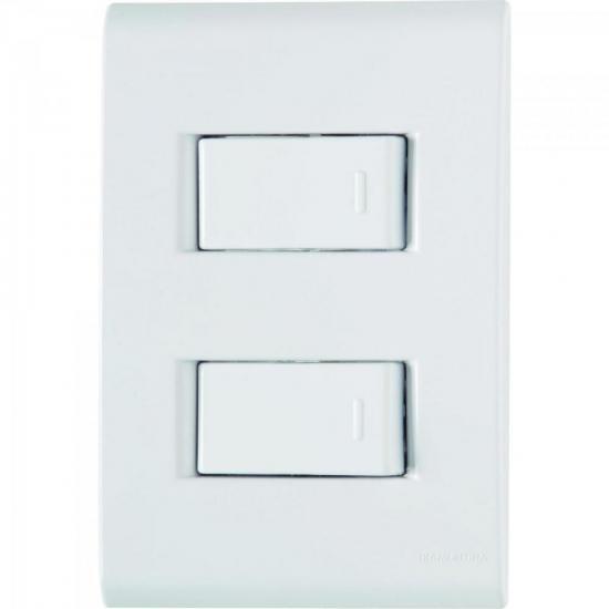 Interruptor Duplo 4x2 c/ 2 Teclas 10A 250V Tablet Branco TRAMONTINA
