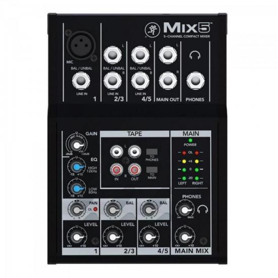 Mesa de Som 5 Canais Mix5 Preta MACKIE (65335)