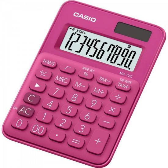 Calculadora Mini de Mesa 10 Dígitos MS-7UC-RD Rosa CASIO