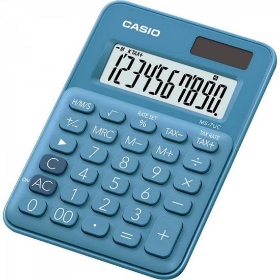 Calculadora Mini de Mesa 10 Dígitos MS-7UC-DC Azul CASIO