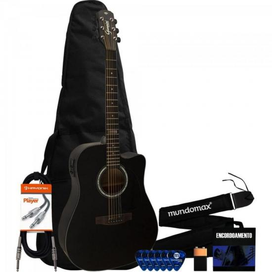Kit Violão Elétrico Folk Aço GF-1D Satin Black GIANNINI + Acessórios