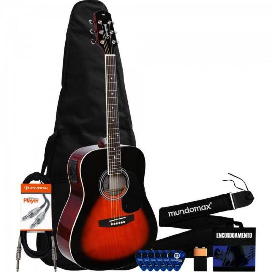 Kit Violão Elétrico Folk GD-1 3 Tone Sunburst GIANNINI + Acessórios
