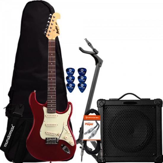 Kit Guitarra Strato 3S MG32 Vermelho Metalico MEMPHIS by TAGIMA + Cubo + Capa + Afinador + Acessórios