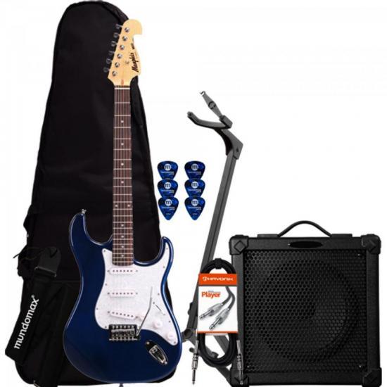 Kit Guitarra Strato MG32 Azul MEMPHIS + Cubo + Capa + Afinador + Acessórios
