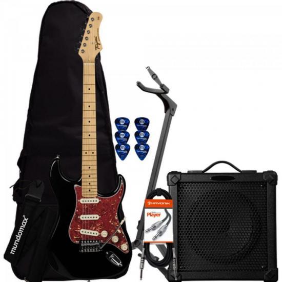 Kit Guitarra Woodstock Series TG-530 Preta TAGIMA + Cubo + Acessórios