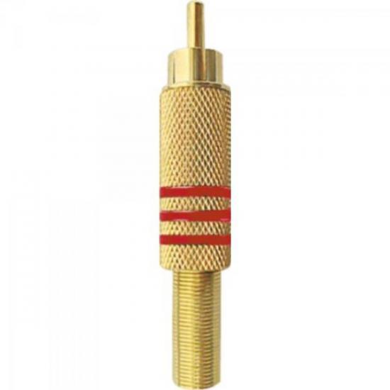 Plug RCA Macho 6/7mm Tarja Vermelha com Mola GENÉRICO