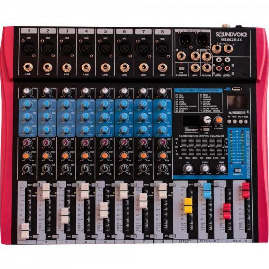 Mesa de Som 8 Canais MS802 EUX Preta SOUNDVOICE