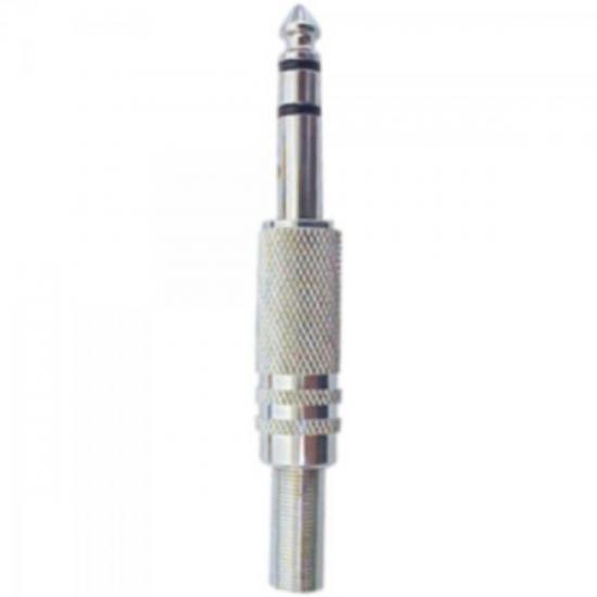 Plug P10 Estéreo Metal com Mola Niquelado GENÉRICO
