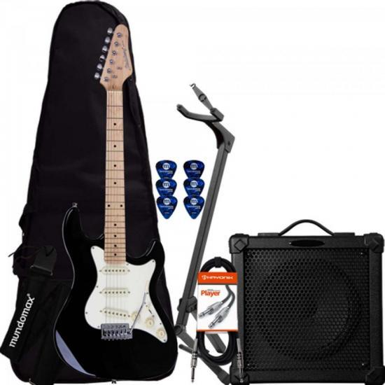 Kit Guitarra Strato STS-100 Preto STRINBERG + Cubo + Acessórios