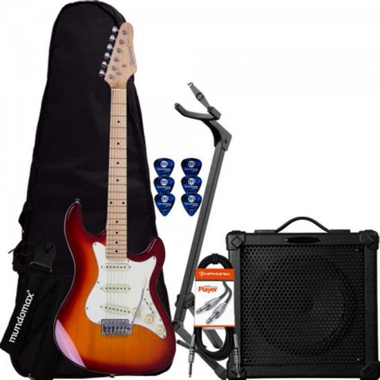 Kit Guitarra Strato STS-100 Redburst STRINBERG + Cubo + Acessórios