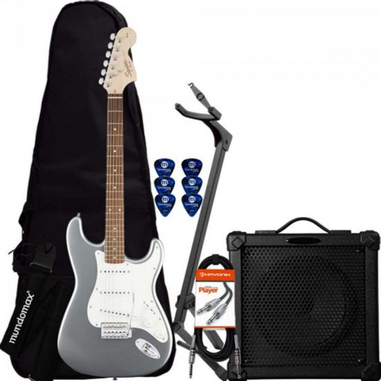 Kit Guitarra Stratocaster Affinity 581 Slick Silver SQUIER + Capa + Acessórios