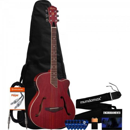 Kit Violão Eletroacústico Aço HMF240 Vermelho + Acessórios