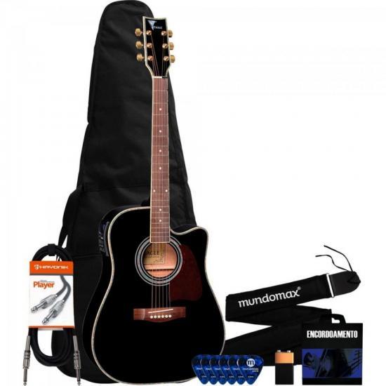 Kit Violão Eletroacústico Folk Aço Preto CH889 EAGLE + Acessórios