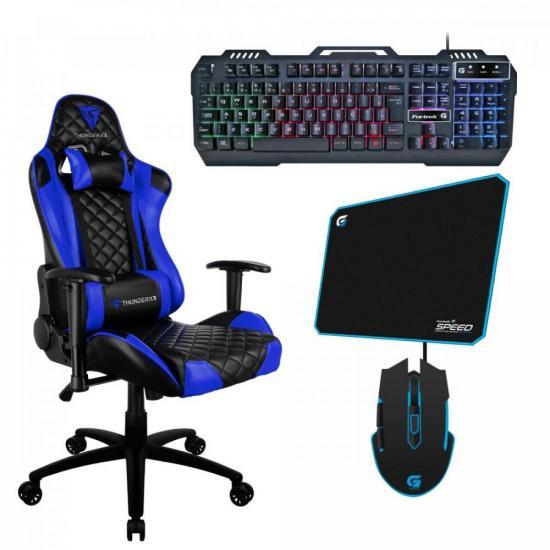 Kit Gamer Profissional TGC12 Preta/Azul THUNDERX3 + Teclado + Acessórios