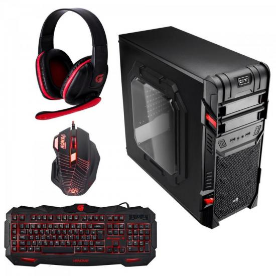 Kit Gabinete Gamer Mid Tower GT WINDOW EN58683 Preto AEROCOOL + Acessórios