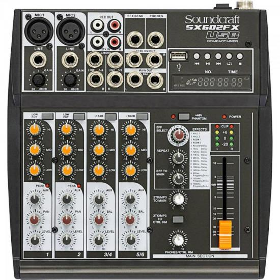 Mixer 06 Canais SX602FX USB SOUNDCRAFT