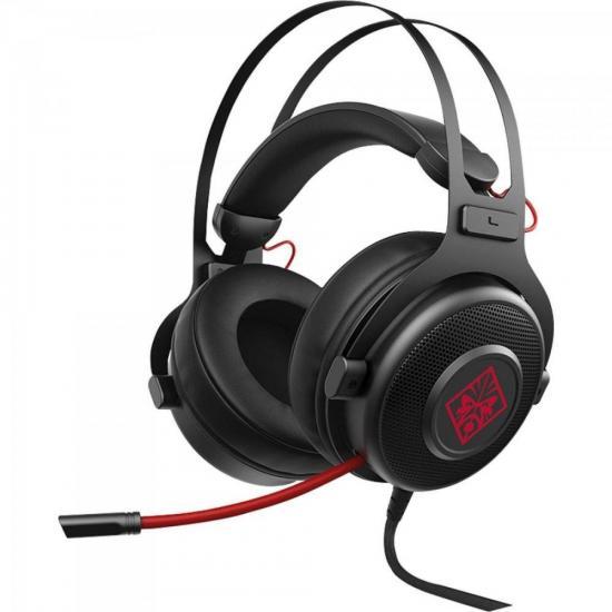 Headset Gamer Omen 800 1KF76AAABL Preto/Vermelho HP