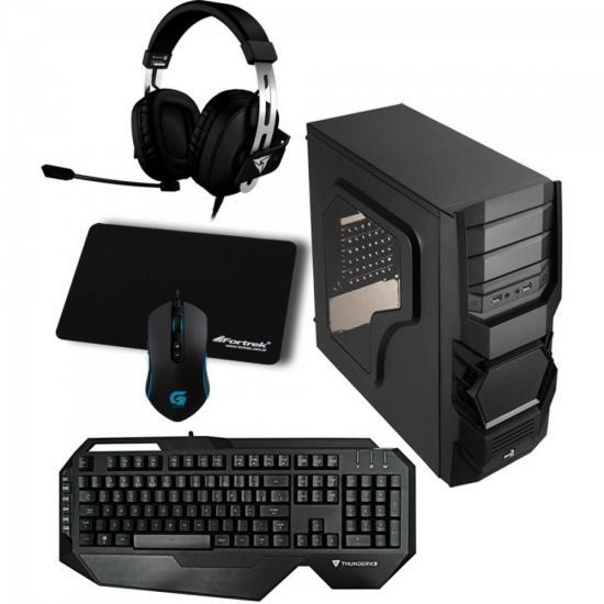 Kit Gabinete Gamer Mid Tower 3.0 CYCLOPS ADVANCE Preto AEROCOOL + Teclado + Acessórios
