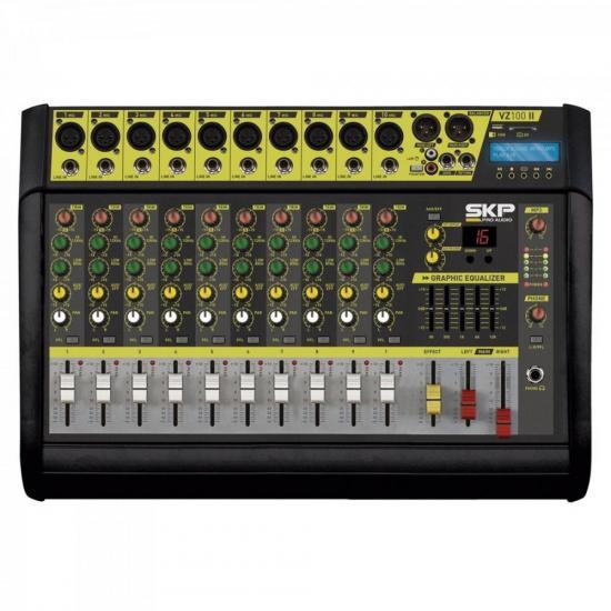 Mesa de Som 10 Canais Amplificado MP3 VZ-100 II Preta SKP (67261)