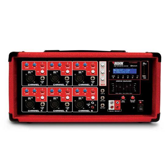 Mesa de Som Amplificado Cabeçote 6400BT Vermelha NOVIK (67264)
