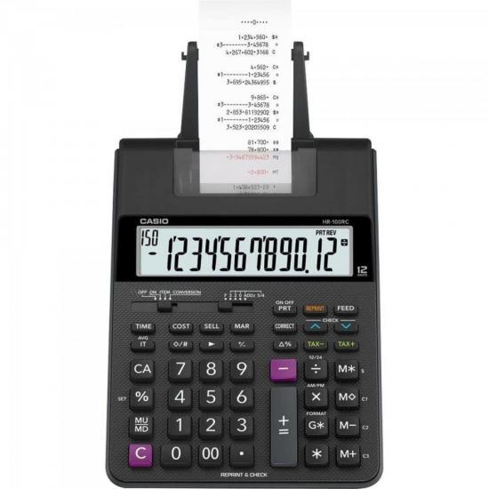Calculadora com Bobina 12 Dígitos Bivolt HR-100RC Preta CASIO (67337)