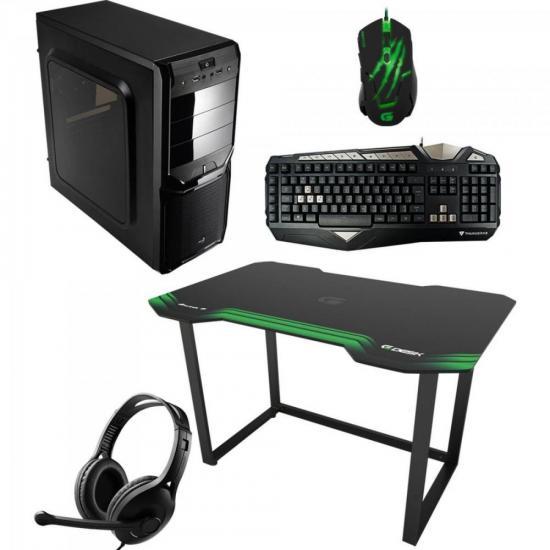 Kit Mesa Gamer HMG01 Verde FORTREK + Acessórios