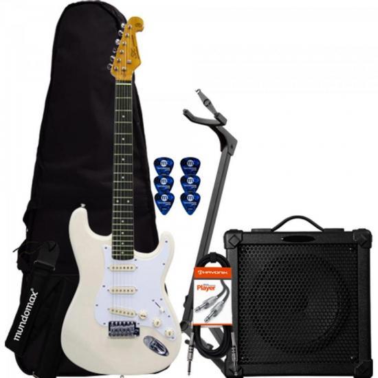 Kit Guitarra SST62VWH Branca SX + Cubo + Acessórios