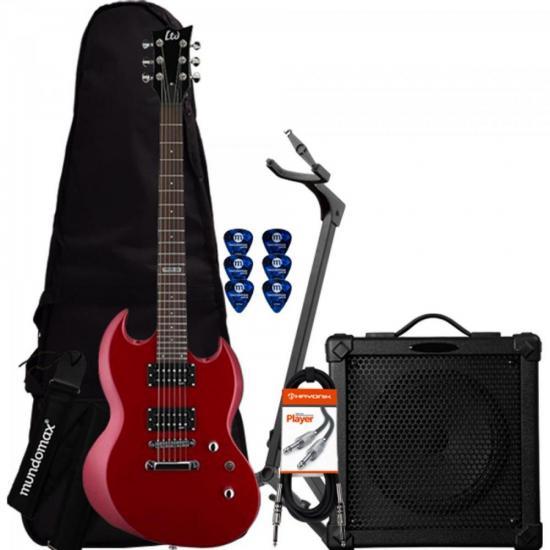 Kit Guitarra Viper 10K Vermelha ESP + Cubo + Acessórios