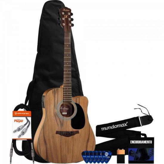 Kit Violão Eletroacústico Folk Aço HMF270 Natural HOFMA + Acessórios