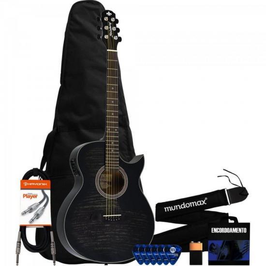 Kit Violão Eletroacústico Aço SA26C Translucent Black STRINBERG + Acessórios