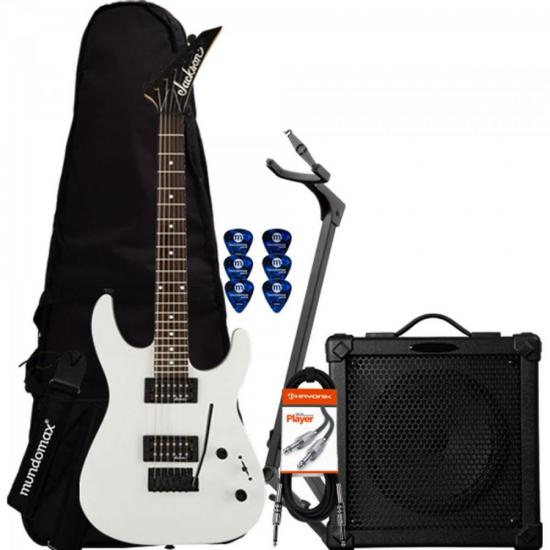 Kit Guitarra Dinky JS11 Gloss Branca JACKSON + Cubo + Acessórios