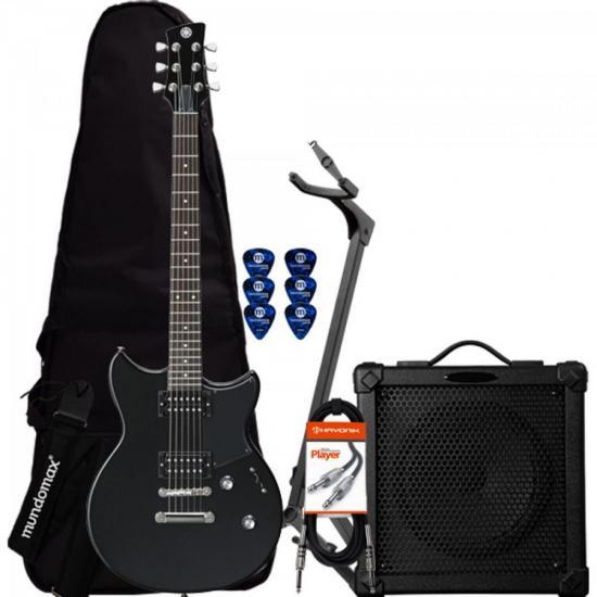 Kit Guitarra REVSTAR RS320 Preta YAMAHA + Cubo + Acessórios