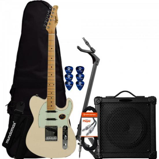 Kit Guitarra T900 WC Branco Vintage TAGIMA + Cubo + Acessórios