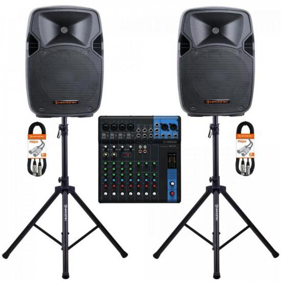 Kit Mesa de Som 10 Canais MG10 YAMAHA + Caixa Acústica + Acessórios (67981)