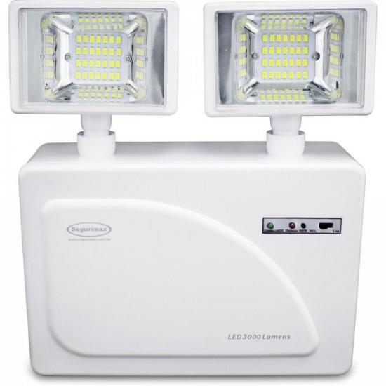 Iluminação de Emergência Lumens 2 Faróis LED 3000 SEGURIMAX (68567)