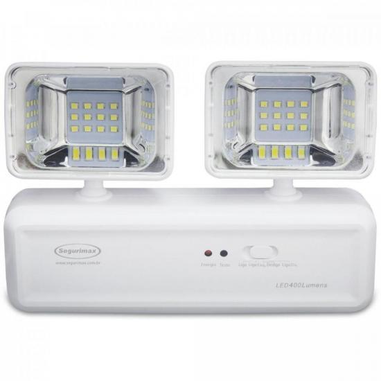 Iluminação Emergência 2 Faróis LED 400 Lúmens SEGURIMAX