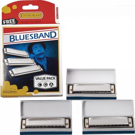 Kit com 3 Gaitas Harmonicas Blue Band HOHNER (69303)