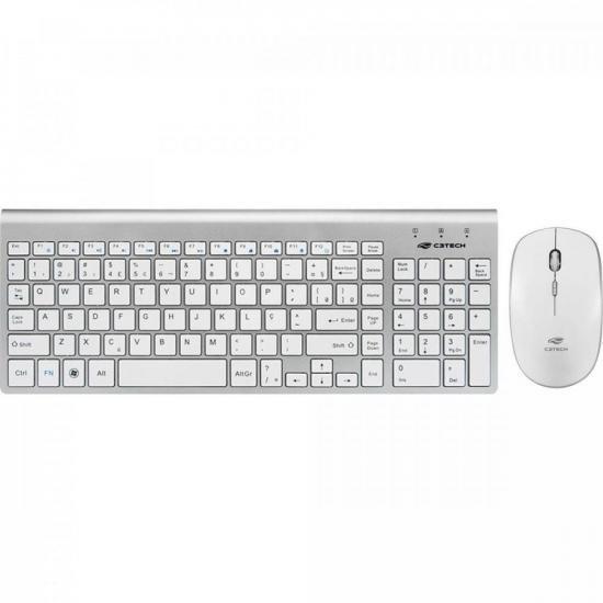 Kit Teclado + Mouse sem Fio K-W510SWH Branco/Prata C3TECH (69722)