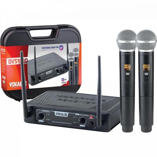 Microfone Sem Fio Duplo DVS100DM VOKAL (70140)