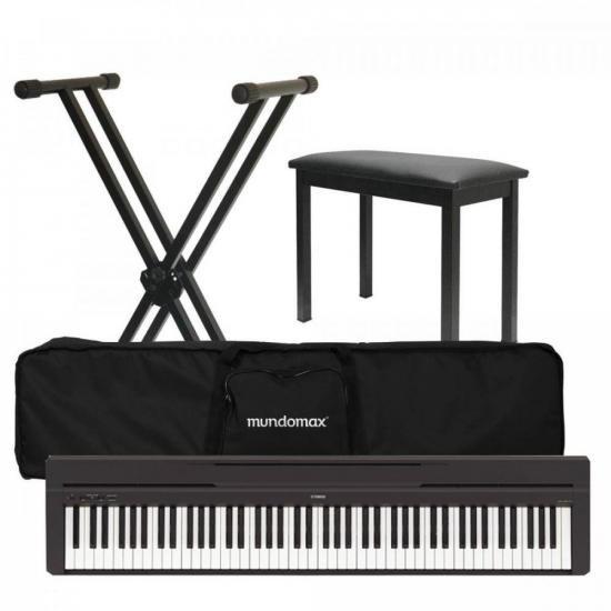Kit Piano Digital P-45 Preto YAMAHA + Suporte + Acessórios (70333)
