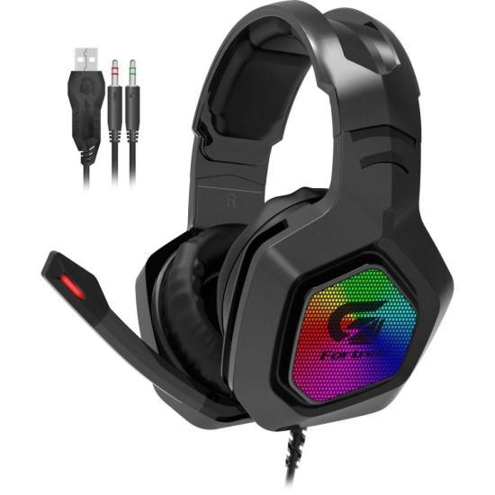Headset Gamer RGB BLACK HAWK Preto FORTREK G