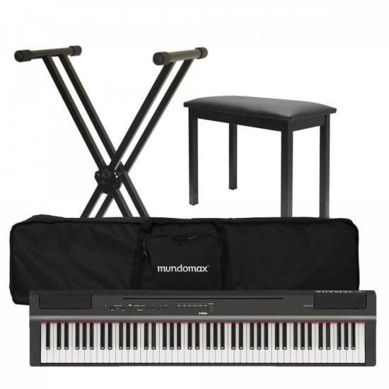 Kit Piano Digital P-125 Preto YAMAHA + Suporte + Acessórios (70602)