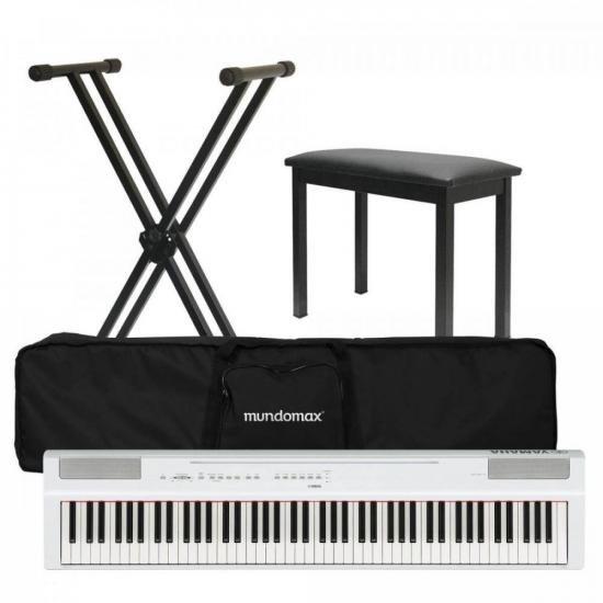 Kit Piano Digital YAMAHA P-125 Branco + Suporte + Acessórios (71362)
