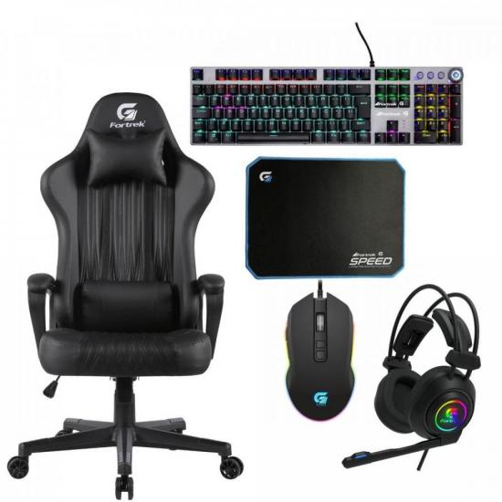 Kit Gamer Profissional Cadeira Gamer Vickers Preta FORTREK + Acessórios (71788)